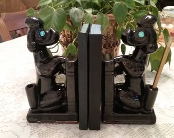 Vintage Ceramic Poodle Bookends / Pen Holders