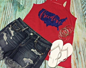 Freedom Fourth of July 4th Independence Day Firework USA Tank Top United States XS S M L XL 2X 3X Plus Size Glitter Bling