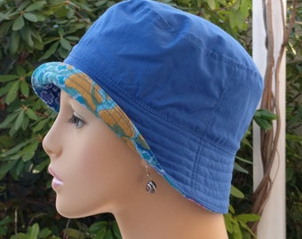 Womens Chemo Hat Bucket Hat Cancer Hat Mediterranean Blue  Made in the USA SMALL - MEDIUM