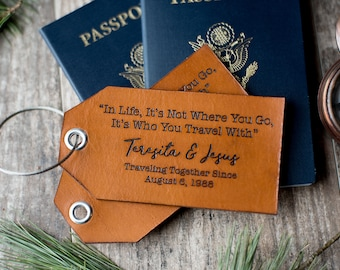 Personalized Leather Luggage Tag, Custom Travel Gift | In Life