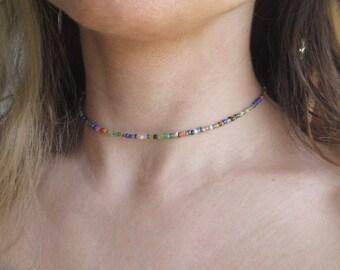 beaded choker necklace, beaded choker, rainbow choker, seed bead choker, chocker, adjustable choker