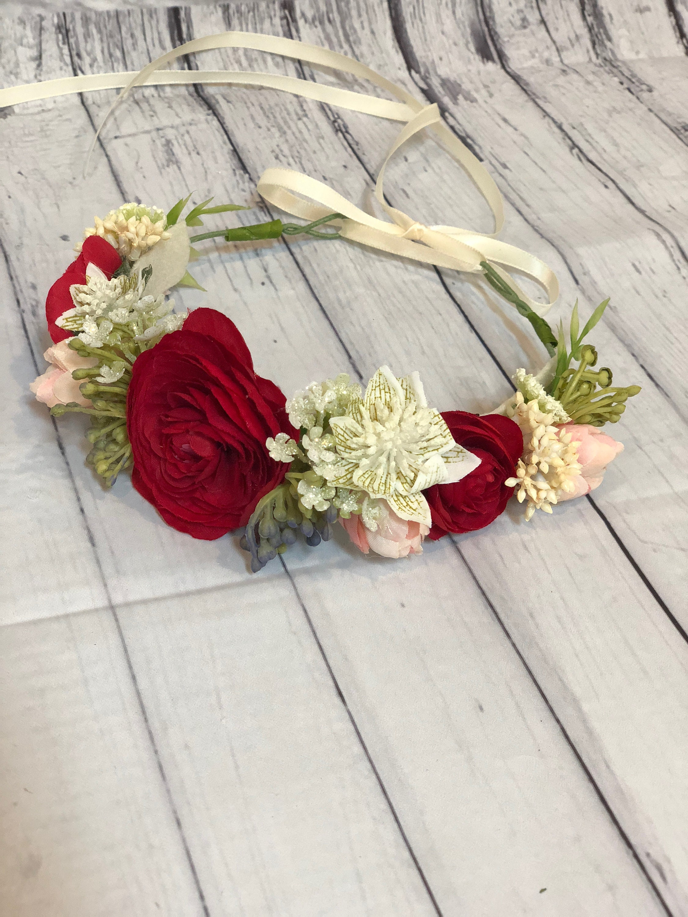 Handmade Babychilds Flower Crownwreath With Red Flowers