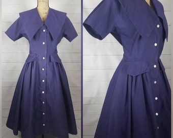 Vintage 1950s Syd Casuals Violet Day Dress, House Dress, Tea Dress, Circle Skirt