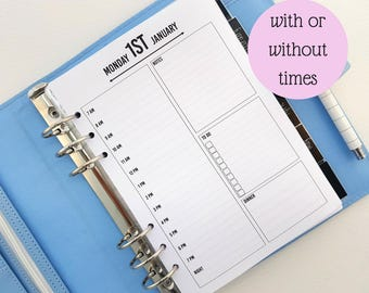 A5 Day on One Page DO1P printed planner inserts | day planner | daily planner | day to a page planner inserts | A5 planner refill filofax