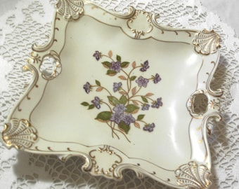 STUNNING AND So CHARMING - Vintage 1940 Era - Porcelain Lefton Square Tray - Dish - Ornate - Hand Painted