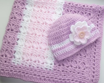 Sweet Lilac, Pink And White Baby Blanket With Matching Hat. Sweet Baby Gift