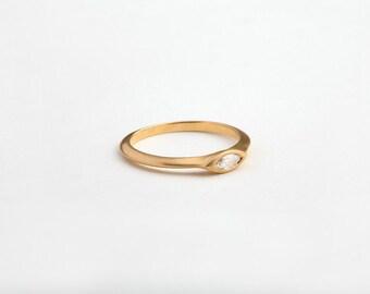 Dainty Diamond Ring, Dainty Engagement Ring, 14k Diamond Marquise Engagement Ring, 18k Gold Thin Engagement Ring, Tiny Diamond