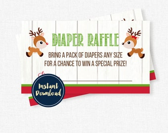 Reindeer Baby Shower Diaper Raffle, Diaper Raffle Tickets, Gender Reveal Diaper Raffle INSTANT DOWNLOAD
