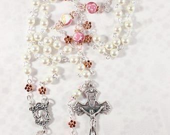 Cream Swarovski beads with Floral Ceramic Paters