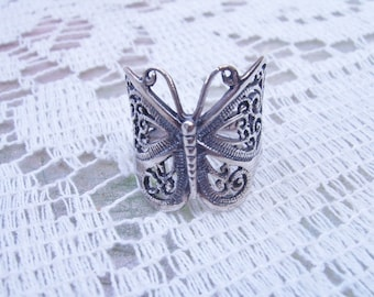 Vintage Sterling Silver Butterfly Ring