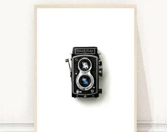 Vintage Camera Print, Camera Printable, Printable Wall Art, Minimalist Art, Black And White Print, Wall Decor, Instant Download