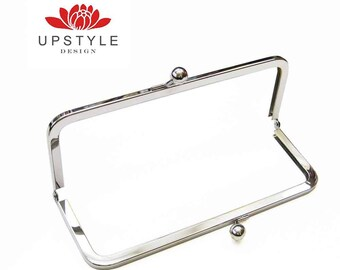"""FREE Shipping to USA - 10 Metal Purse Frames - 8"""" x 3""""- Classic Style Clutch Purse Frame - Nickel or Antique Brass"""