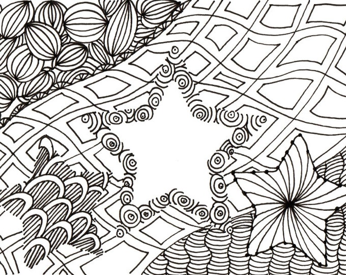 Printable DIY Zendoodle Stars-2 card 5x7 pdf from Kauai Hawaii Mele Kalikimaka Christmas doodle black white zentangle inspired art
