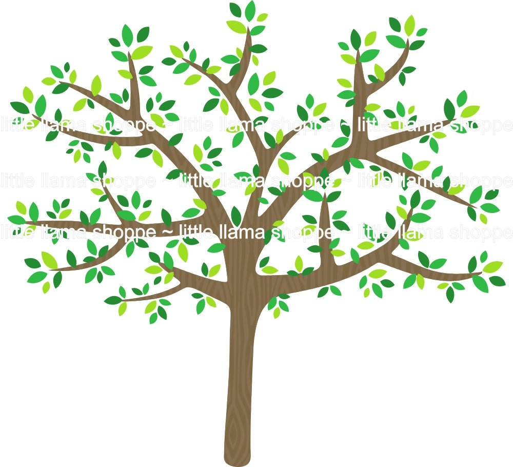 Tree Clipart, Leafy Tree Clip Art, Colorful Trees, Instant Download ...