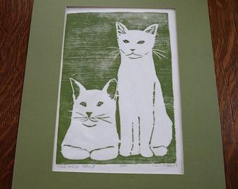Original block print green cats