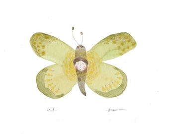 ORIGINAL whimsical illustration, green butterfly watercolor painting, butterfly illustration, childrens room wall art