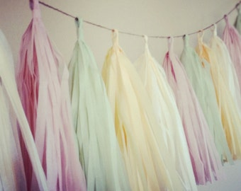 BLUSH and CELEDON tassel garland pastel nursery table wedding decorations french paris theme girl first birthday party high chair photo prop