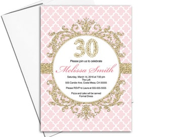 30th birthday party invitations ladies | pink and gold invites | adult birthday invitation | printable or printed - WLP00352