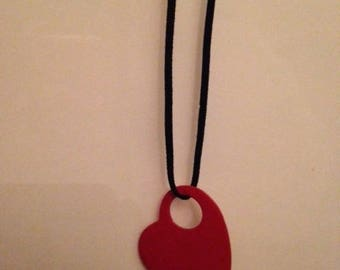 Red heart and leather necklace