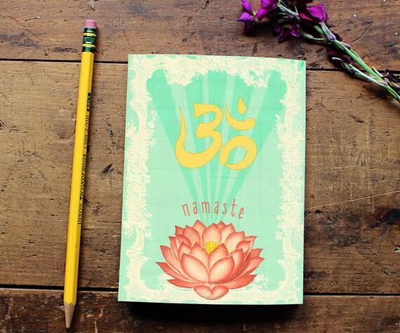 Lotus Flower Journal - Namaste Notebook - Paper - Notepad - Handmade Gift - Yoga Lover - School Office Supplies