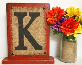 Standing sign, BURLAP monogram, painted, Worn RED, Rustic Sign, Primitive, Mantle decor, Distressed, family sign, Letters, Burlap Sign, aged