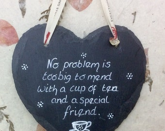 Unique Friends Gift | Wall Decor Cup of Tea Gift  | Friends Slate Heart |