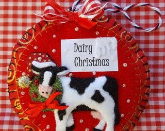 Red Christmas cow felt and fabric ornament-Country cow Christmas tree decor-Handmade 3D cow orament-Christmas on the farm animal ornament