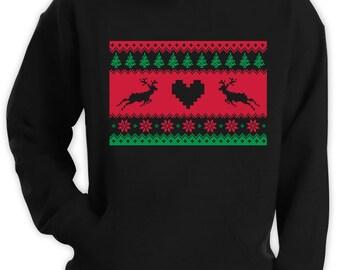 Reindeer Ugly Christmas Sweater Stripe Hoodie Men Funny