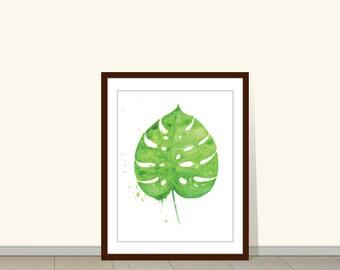 Monstera Leaf Print, Monstera Leaf, Tropical Art, Palm Leaf Art Print, Watercolour, Monstera Leaf Art, Botanical, Wall Art, Decor, Plant