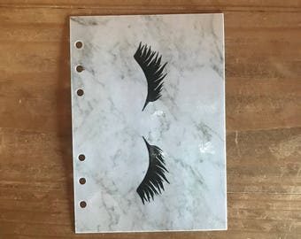 Eyelash marble planner dashboard. Available for pocket, personal, A5 and foxy fix wide planners.