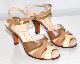 Vintage 1940s Peep Toe Sandals   Pennant   Size 4