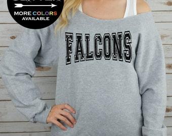 FALCONS Off Shoulder Raw Edge Sweatshirt for Women // GLITTER // Mascot Sweatshirt, Football Shirt, Sports Tee, Plus Sizes (Black Glitter)