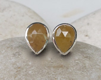 Yellow Sapphire Raw Stud Earring- Yellow Pear Shape Rough Stone Earring- September Birthstone Raw Earring- Simple Everyday Gemstone Earring