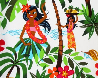 Fabric, Leis, Luaus and Aloha, Hawaiian Hula Girls Fabric White, Alexander Henry, By the Yard