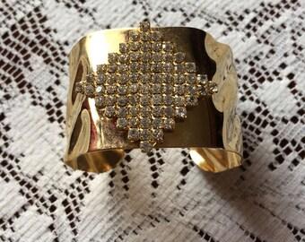 Vintage 80s Bold Chunky Gold Metal Rhinestone Cuff Statement Ladies  Bracelet