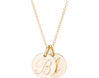 Small Hand Engraved Mini Solid 14K Gold Two Initial Necklace, made to order for you in 10-12 days