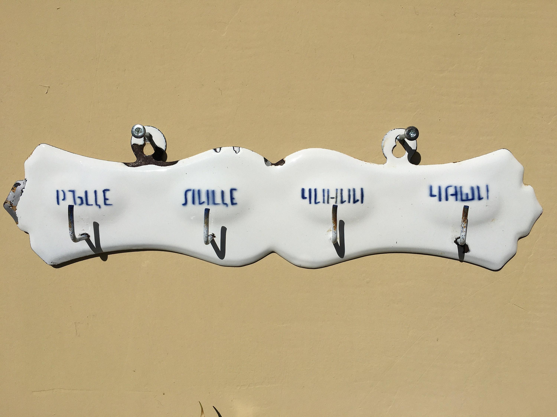 White Enamel Kitchen Towel Hanger Wall hanger enamelled