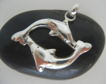 Vintage sterling silver double dolphin pendant from Bali 4.2 grams.  Mens or womens sterling silver dolphin pendant.  Dolphin lovers pendant