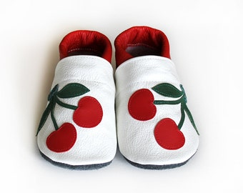 Leather Baby Booties, Baby Shoes, White Green Red Infant Newborn Nursery Children Cherry
