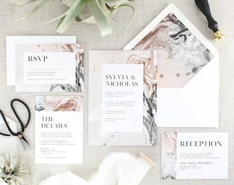 Blush Wedding Invitations - Marble Wedding Invitation Suite - Modern Wedding Invites and RSVP - Typography Wedding Invitation - Set of 10