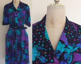 1980's Abstract Floral & Polka Dot Shirtwaist Dress with Pockets Size Medium Large by Maeberry Vintage