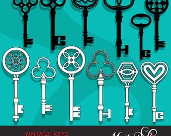 Vintage Antique Keys Clipart & Digital Stamps. Key silhouettes cliparts also outlined key graphics for digital stamping.