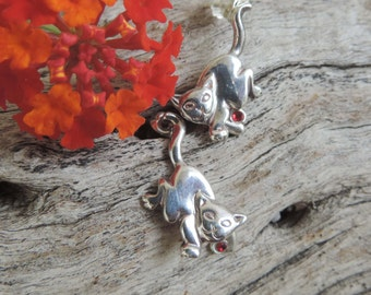 Vintage Sterling Silver Cat Earrings - Movable Arm