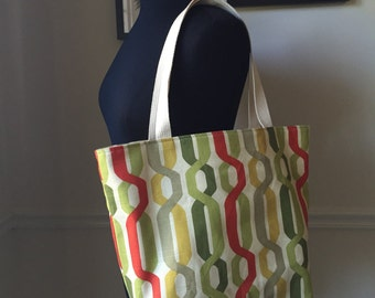 modern canvas tote bag // green red and yellow geometric twist fabric // canvas interior with zipper pocket // READY TO SHIP