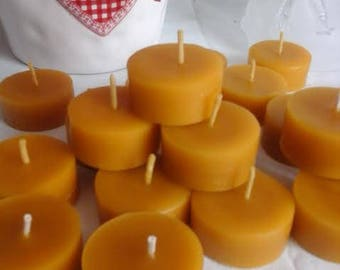 50 Handmade 100% Organic Natural Pure Beeswax Tea Lights Church Candles