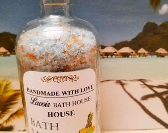 8oz Bora Bora bath salts, floral bath salts, tropical bath salts, bath salts, blue bath salts, dead sea salt, soaking salts, soak salts