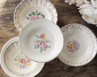 Mismatched Dessert Bowls Set of 4 Tea Party Serving Bowls Wedding Farmhouse Cottage Style China Replacement China Ca 1940s