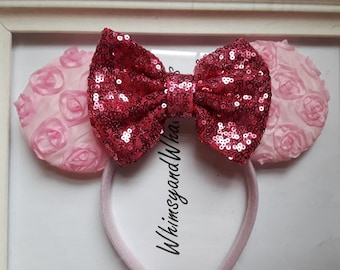 Light Pink Rosette Minnie Mouse Ears