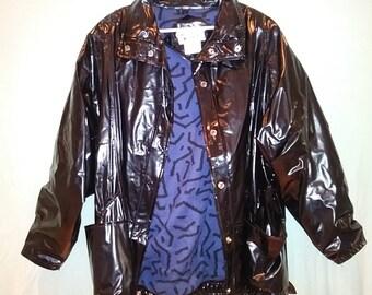 WIPPETTE black lined vinyl raincoat sz s