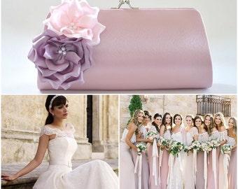 Dusty Rose - Lilac - Pale Pink - Bridesmaid Clutch / Bridal clutch / Wedding clutch / Custom clutch